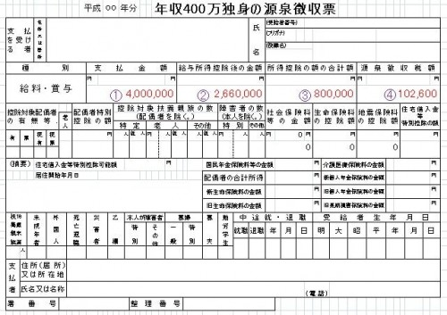 源泉徴収票、年収400万円独身